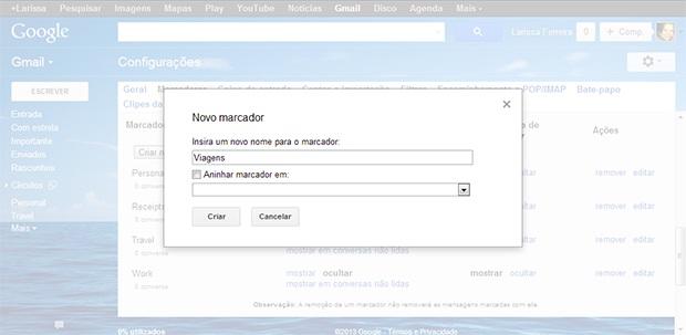 """Escolha um nome pro marcador e clique em """"Criar"""" (Foto: Reprodução)"""