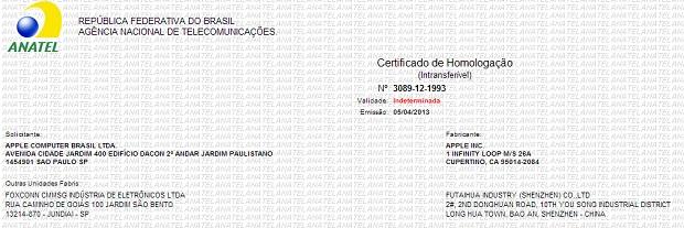 Documento confirma homologação do iPad Mini no Brasil (Foto: Reprodução/Anatel)
