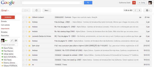 Pronto. Agora seus e-mails estão separados (Reprodução/ Guilherme Godin) (Foto: Pronto. Agora seus e-mails estão separados (Reprodução/ Guilherme Godin))