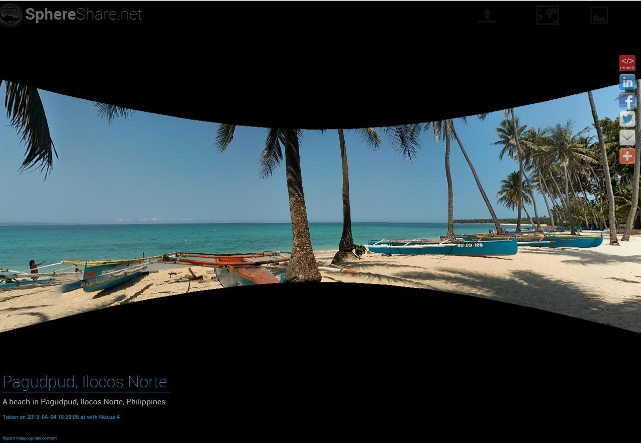 O site ainda permite que suas imagens sejam compartilhadas nas principais redes sociais da internet (Foto: Divulgação/ SphereShare)