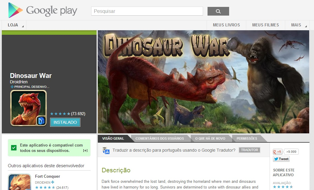 Observe quantos usuários fizeram o download (Foto: Divulgação/ Google Play)