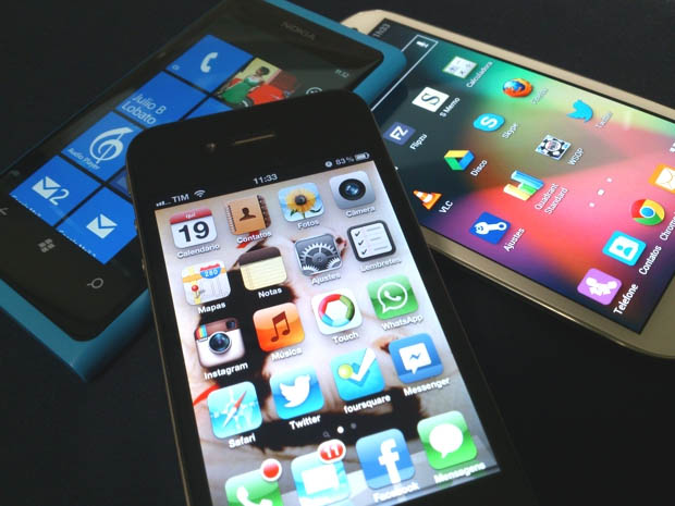 iPhone, Android e Windows Phone juntos (Foto: Allan Melo / TechTudo)