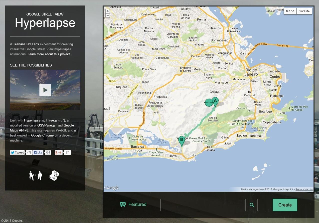 O Hyperlapse gera vídeos com imagens do Google Street View, seguindo as trajetórias escolhidas no mapa (Foto: Divulgação/ Hyperlapse )