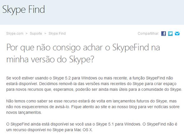 Skype Find não está disponível na versão atual do serviço (Foto: Reprodução/Edivaldo Brito)