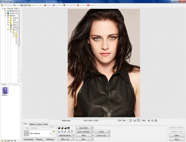 Tela inicial do Photoscape com a imagem carregada (Foto: Reprodução/ Raquel Freire)