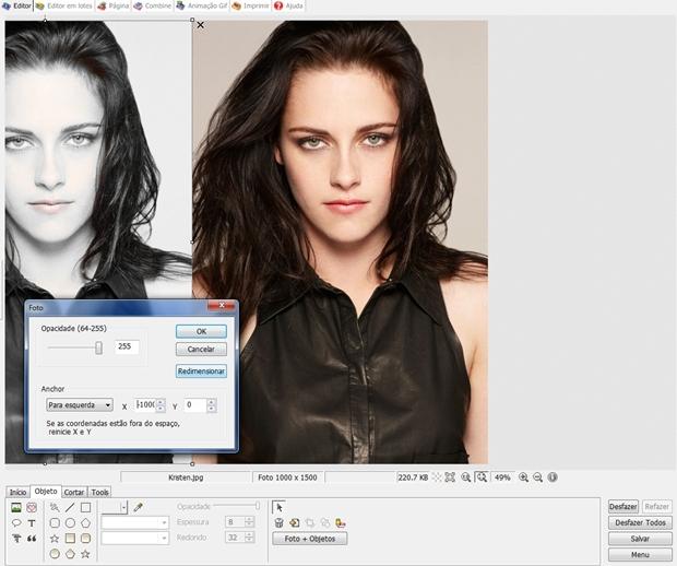 """Janela """"Foto"""" do Photoscape (Foto: Reprodução/ Raquel Freire)"""