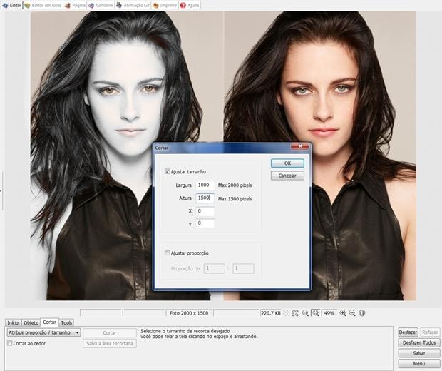 """Janela """"Cortar"""" configurada de acordo com dimensões da imagem (Foto: Reprodução/ Raquel Freire)"""