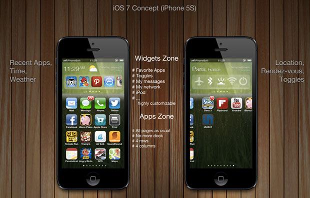 Conceito de iOS 7 (Imagem: Reprodução/iphonesoft.fr)