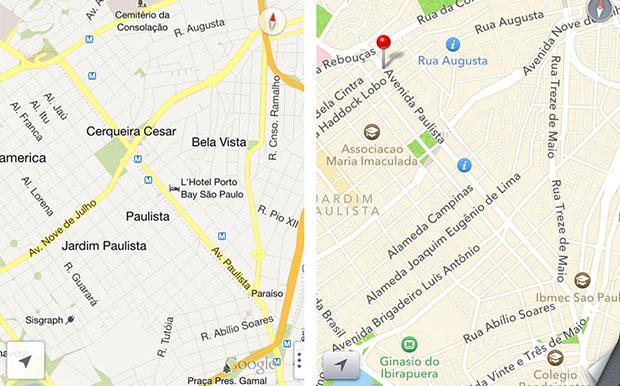 Google Maps x iOS Maps (Imagem: Reprodução / Daniel Pinto)