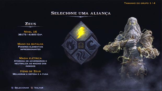 Pressione triângulo para visualizar a tela de aliança. (Foto: Reprodução)
