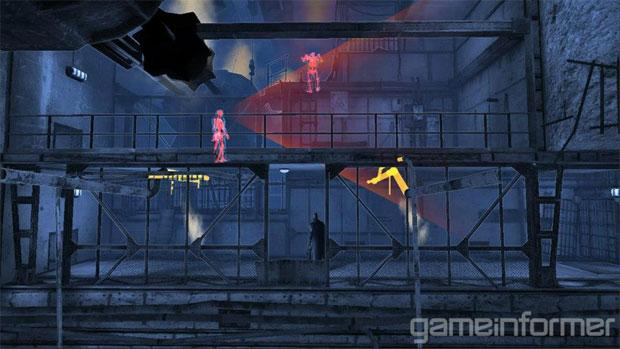 Inimigos em vermelho sabem onde Batman está no cenário (Foto: Reprodução/Game Informer)