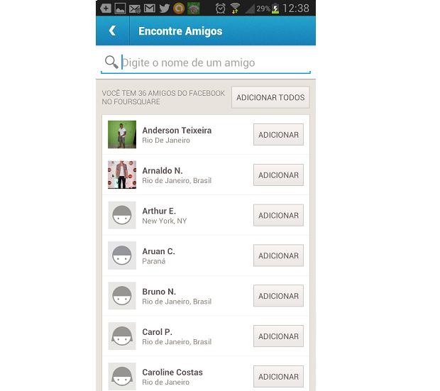 Foursquare reconhece seus amigos do Facebook (Foto: Reprodução Thiago Barros)