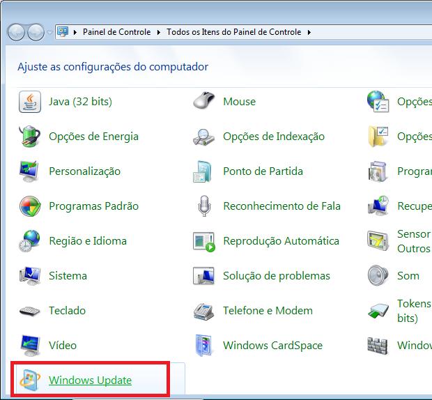 Acesando o Windows Update (Foto: Reprodução/Edivaldo Brito)