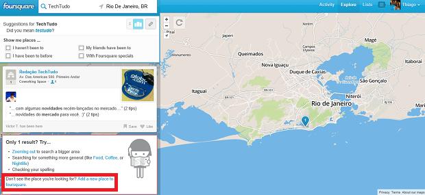 Adicionar locais no Foursquare é bastante simples (Foto: Reprodução Thiago Barros)