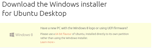 Aviso pede para que usuários instalem o Ubuntu de forma mais conservadora em máquinas com Windows 8 64 bits (Foto: Reprodução)