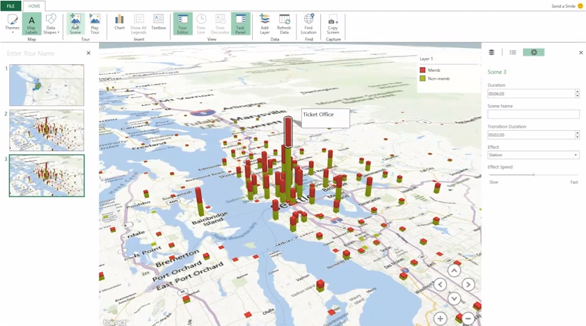 Gráficos em mapas do Bing no GeoFlow (Imagem Reprodução / Daniel Pinto)
