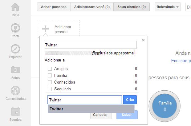 Adicionando os contatos ao Google+ (Foto: Reprodução/Ricardo Fraga)
