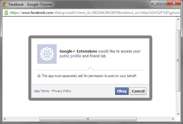 Tela de autorização de acesso à conta do Facebook (Foto: Reprodução/Ricardo Fraga)