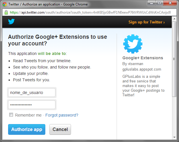 Tela de autorização de acesso à conta do Twitter (Foto: Reprodução/Ricardo Fraga)
