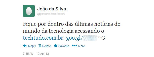 Tweet gerado automaticamente pelo GPlusLabs (Foto: Reprodução/Ricardo Fraga) (Foto: Tweet gerado automaticamente pelo GPlusLabs (Foto: Reprodução/Ricardo Fraga))