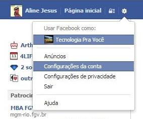 Configurações de conta do Facebook (Foto: Aline Jesus/Reprodução)