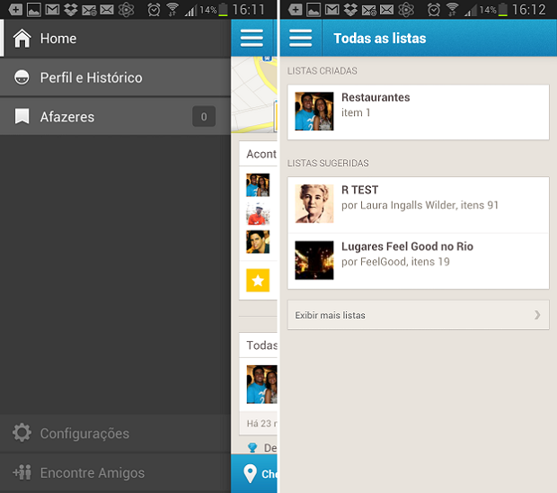 Listas são exibidas no menu principal do Foursquare (Foto: Reprodução Thiago Barros) (Foto: Listas são exibidas no menu principal do Foursquare (Foto: Reprodução Thiago Barros))