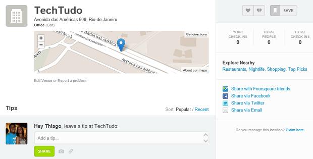 Parabéns seu local no Foursquare foi criado (Foto: Reprodução Thiago Barros) (Foto: Parabéns seu local no Foursquare foi criado (Foto: Reprodução Thiago Barros))
