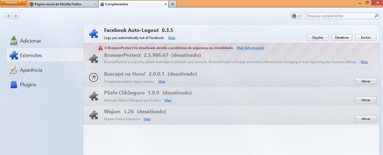 Procurando por Facebook Auto-Logout na opção extensões do Firefox