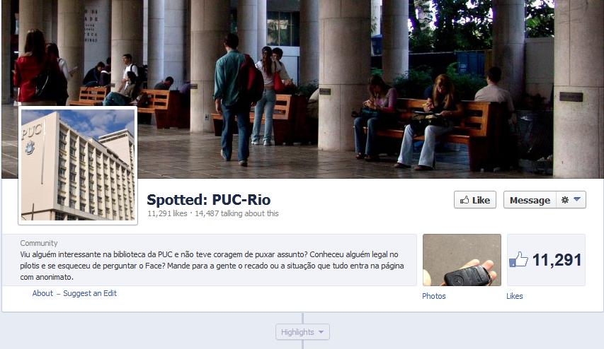 Spotted da Puc: página reúne mais de 11 mil membros