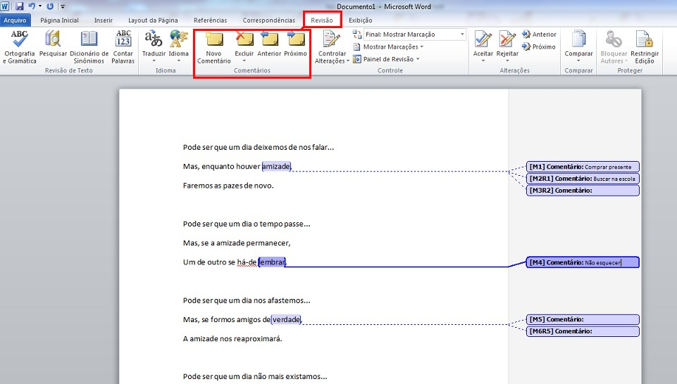 Selecione a guia Revisão, clique em Novo Comentário e digite o texto (Foto: Marcela Vaz/Reprodução)