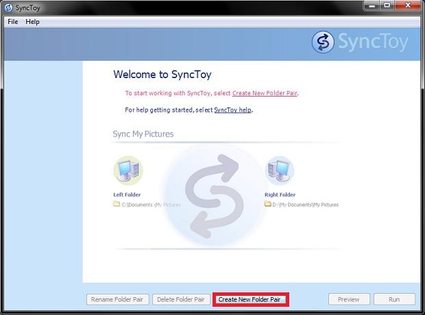 Tela inicial do SyncToy com opção para criar um novo par de pastas sincronizadas