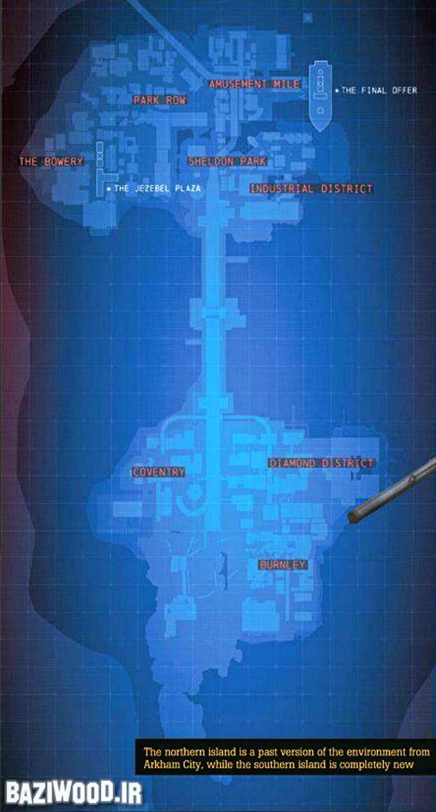 O mapa da cidade de Gotham na vertical (Foto: Baziwood)