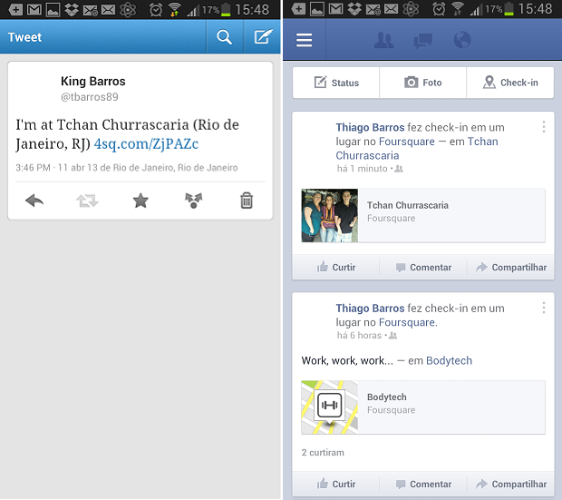 Check-ins são exibidos no Twitter e no Facebook  (Foto: Reprodução/Thiago Barros)