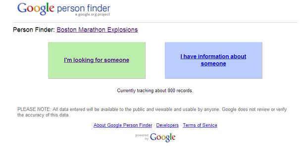Google lançou serviço para ajudar vítimas de explosão em Boston (Foto: Reprodução/Google)