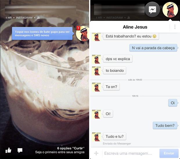 """Facebook Home exibe atualizações do Messenger através de """"cabeças flutuantes"""" (Foto: Thiago Barros/TechTudo)"""