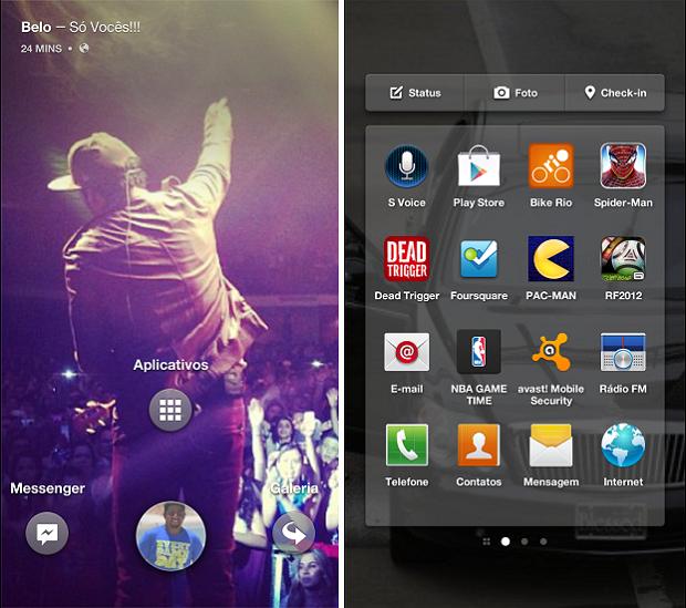 Facebook Home tem atalho para último app usado e também para todos os instalados (Foto: Thiago Barros/TechTudo)