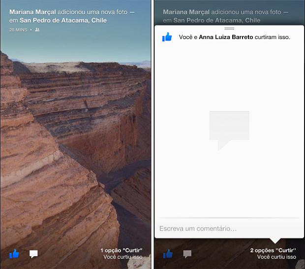 Facebook Home traz, na tela inicial, ícones para curtir e fazer comentários (Foto: Thiago Barros/Tudo)