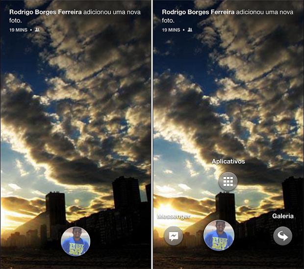 Facebook Home reúne Messenger e aplicativos no menu com a foto do usuário (Foto: Thiago Barros/TechTudo)
