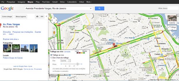 Especifique a localidade que deseja visualizar as condições de trânsito (Foto: Reprodução/Aline Jesus)