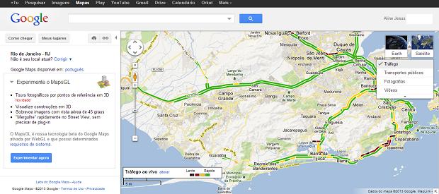 Google Maps permite visualizar trânsito em tempo real (Foto: Reprodução/Aline Jesus)