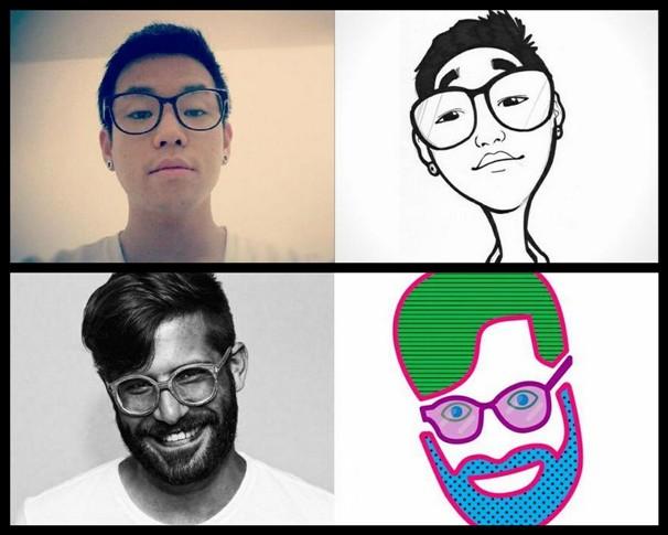 Imagens originais do perfil no Facebook e as releituras feitas por outros usuários (Foto: Reprodução/Selfless Portrait)