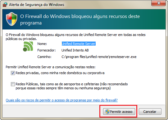 Unified Remote Server pode ser bloqueado pelo Firewall do Windows, permita o acesso (Thiago Bittencourt/TechTudo)
