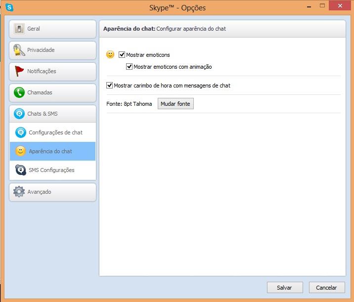 Alterando a aparência do chat do Skype (Foto: Reprodução/Carolina Ribeiro)