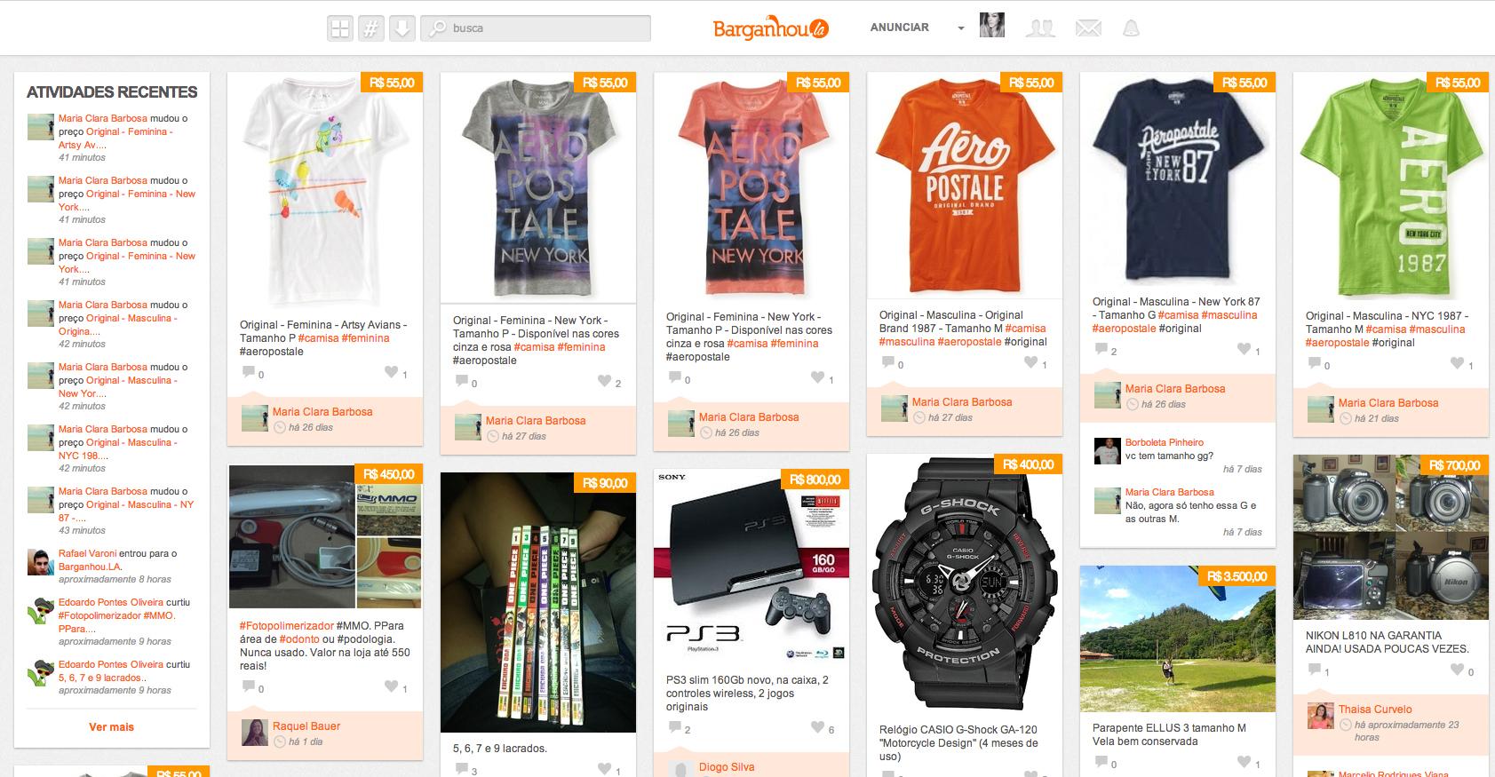 Barganhou.la utiliza formato visual similar ao Pinterest para negociações de produtos entre amigos do Facebook. (Foto: Reprodução)