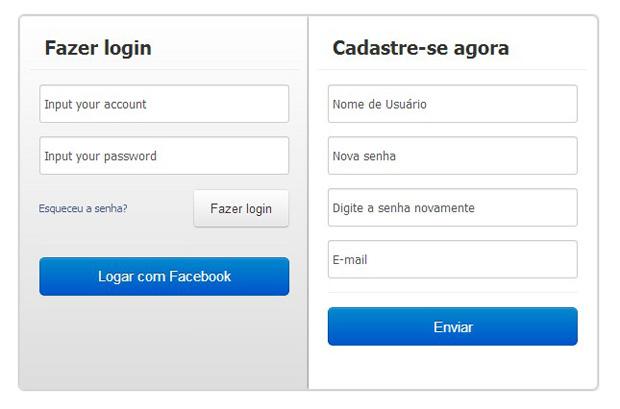 Cadastre-se ou logue com facebook para jogar DDTank (Foto: TechTudo)