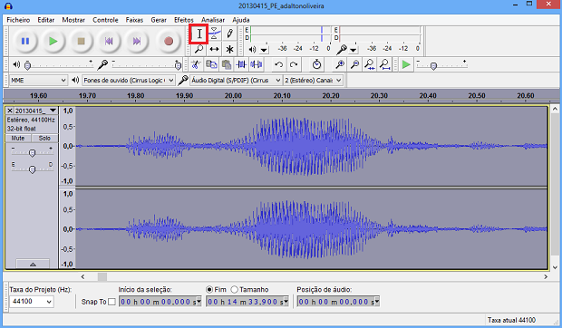 Editando arquivo de som no Audacity (Foto: Reprodução/Helito Bijora)