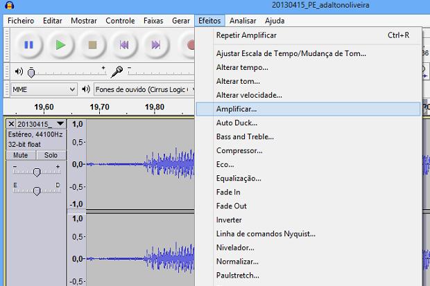 Acessando efeito de amplificação (Foto: Reprodução/Helito Bijora)