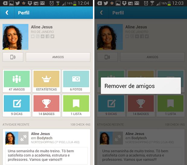 Desfazer amizade no Foursquare é bastante simples (Foto: Reprodução Thiago Barros) (Foto: Desfazer amizade no Foursquare é bastante simples (Foto: Reprodução Thiago Barros))