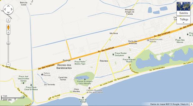 Mapa é a visualização mais simples do Maps (Foto: Reprodução/Aline Jesus)