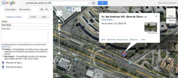 Procure o local para onde você quer criar o mapa (Foto: Reprodução/Aline Jesus)